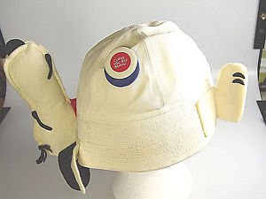 1966 Peanuts Snoopy Hat Cap with original Curse you red Baron Button pin badge