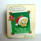 Tweety Bird Miniature Christmas Ornament Santa hat Looney Tunes putting on glitz