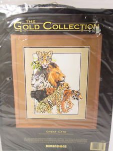 Dimensions Gold collection Great Cats cross stitch kit Lion Tiger Cheetah
