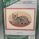 Elsa Williams Needlepoint kit Tabby cat blue ribbon hearts cat lovers Vintage