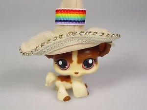 Littlest Pet Shop toy 438 LPS dog chihuahua cream tan long hair purple eyes