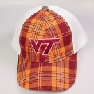 Virginia Tech VT Hokies baseball hat cap Maroon white orange plaid mesh
