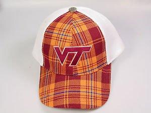 Virginia Tech VT Hokies baseball hat cap Maroon white orange plaid mesh