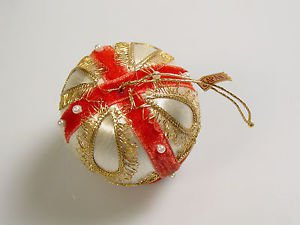 Vintage Satin Velvet Christmas Ornament Embellished MCM Xmas Vintage Japan