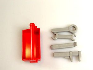playmobil red tool box tool set wrench crow bar pipe wrench dollhouse workshop