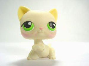 Littlest pet shop 98 Cat Kitty kitten cream yellow greem eyes paw up LPS