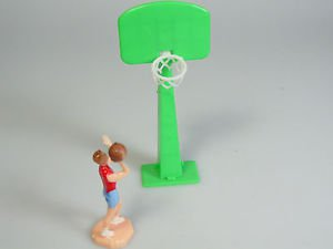 Girls Basketball player and net Hoop Cake Decoration Cake Topper Vintage New NOS