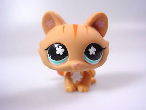 Littlest Pet shop 649 Cat orange tabby stripes blue eyes flowers