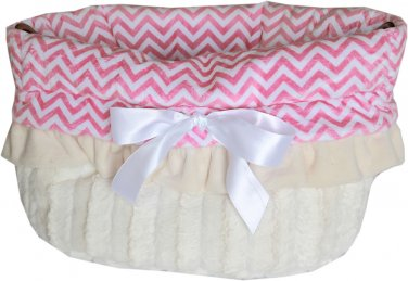 Snuggle Bugs - Pink Chevron - Dog Pet Bed + Bag + Car Seat in One