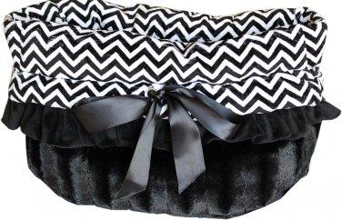 Snuggle Bugs - Black Chevron - Dog Pet Bed + Bag + Car Seat in One