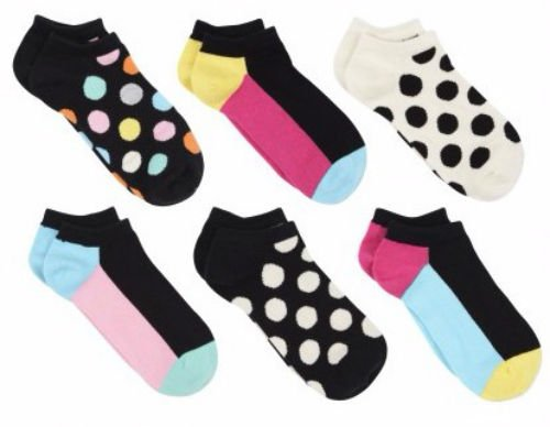 Happy Socks Women's Low Cut Ankle Socks 6 Pair Big Dot Size 9-11