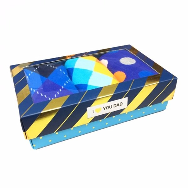 Happy Socks 3 Pair Box Set for Men Argyle Big Dot and Diamond Pattern Crew Socks