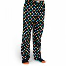 Men's Lounge Pants Pajamas Cotton Polka Dot Black with Bright Colored Dots