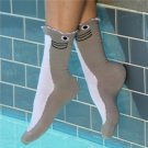 Women's Wide Mouth Shark Socks by K. Bell Size 9-11 One Pair Gray White