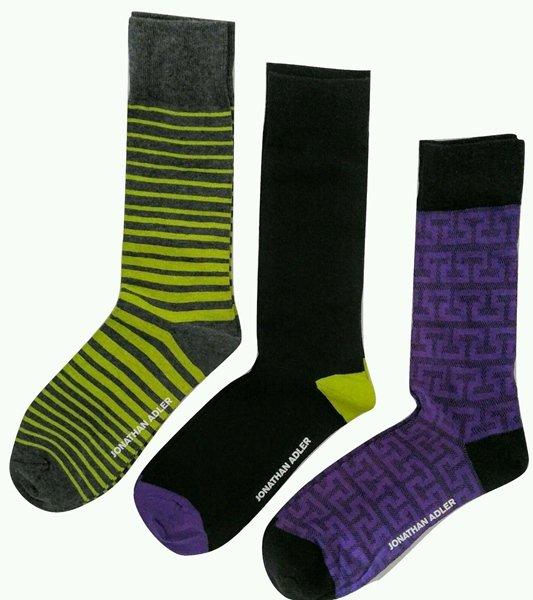 Jonathan Adler Men's Premium Crew Socks Green Black Purple 3 Pair Size 10-13