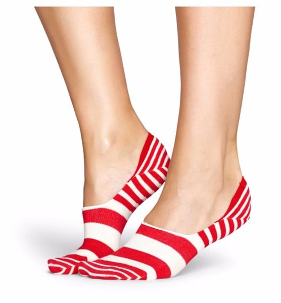Stripe Liner Socks for Women Red and White Size 9-11 One Pair