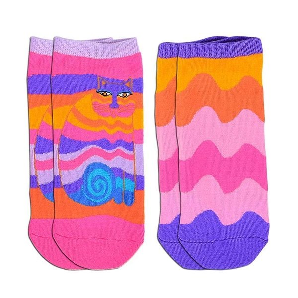 Women's Laurel Burch Rainbow Cat Low Cut Ankle Socks 2 Pair Pack Size 9-11