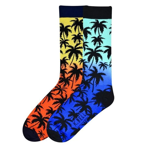 Men's Palm Tree Crew Socks by K. Bell Size 10-13 One Pair