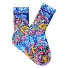 Women's Cat With Flowers Crew Socks by K Bell Laurel Burch Collection One Pair