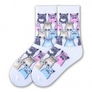 K Bell The Smarty Cats Socks One Pair White Size 9-11
