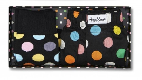 Happy Socks Big Dot Socks With Matching Boxers Gift Box Size 10-13