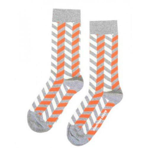 Jonathan Adler Women's Herringbone Crew Socks Orange Gray Size 9-11
