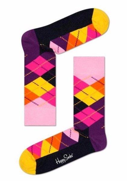 Men's Argyle Pattern Crew Socks By Happy Socks One Pair Size 10-13 Pink