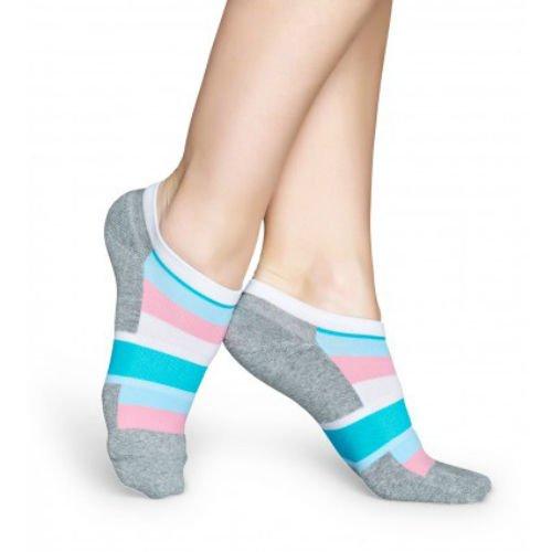 Happy Socks Women's Stripe Athletic Low Cut Ankle Socks Size 9-11 One Pair