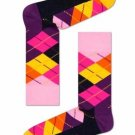 Women's Argyle Pattern Crew Socks By Happy Socks One Pair Size 9-11 Pink