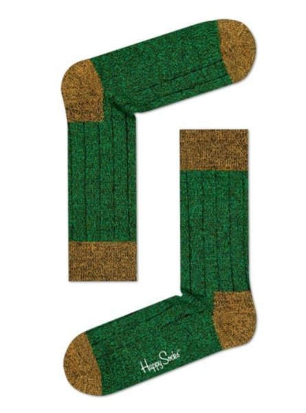 Happy Socks Wool Blend Crew Socks for Men Green Size 10-13 One Pair