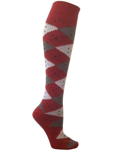 Eve Sangria Argyle Knee High Organic Cotton Socks for Women by Rock N Socks