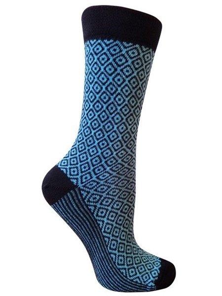 Zara Aqua Diamond Crew Socks for Women by Rock N Socks 9-11 Eco Friendly