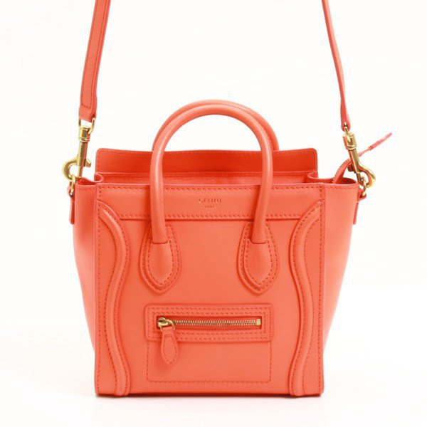 Authentic Celine Shopper 2Way Shoulder Bag Leather Bright Orange