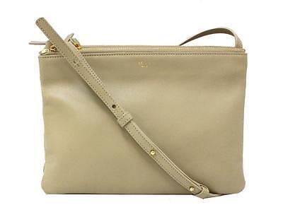 Authentic CELINE Trio Shoulder Bag Crossbody Bag Lambskin Leather Beige Gold