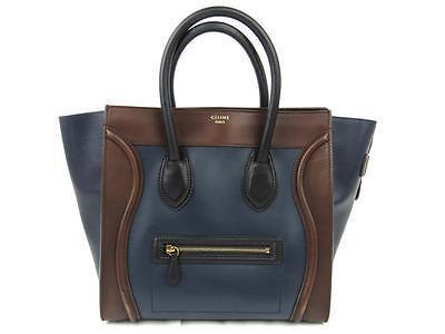 Auth CELINE Mini Luggage Shopper Handbag Tote Bag Leather Navy Blue Brown