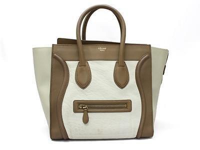 Authentic CELINE Leather Mini Luggage Handbag Tote Bag Leather Tricolor Beige
