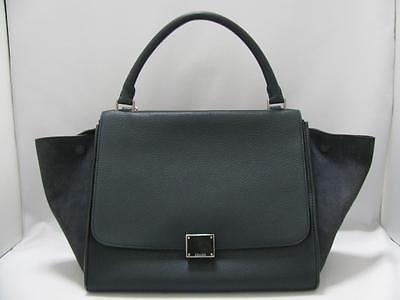 Authentic CELINE Trapeze Luggage Shoulder Bag Handbag Calfskin Suede Navy Blue