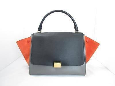 Authentic CELINE Trapeze Luggage Shoulder Bag Handbag Suede Leather Multicolor
