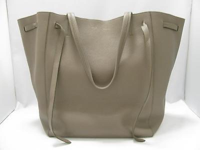 Authentic CELINE Cabas Phantom Shoulder Tote Bag Handbag Calfskin Leather Grey