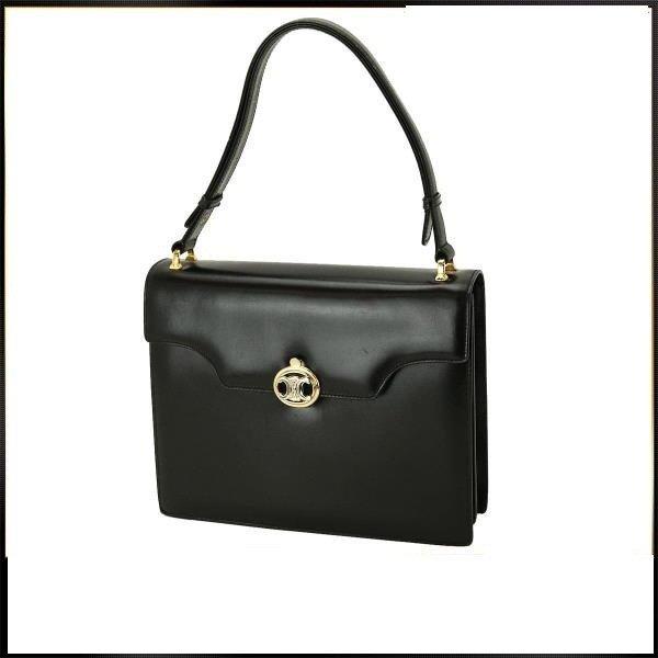 Celine Leather Shoulder Hand Bag Black