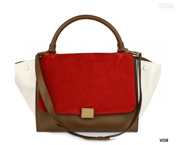 Celine trapeze 2WAY handbag khaki & red