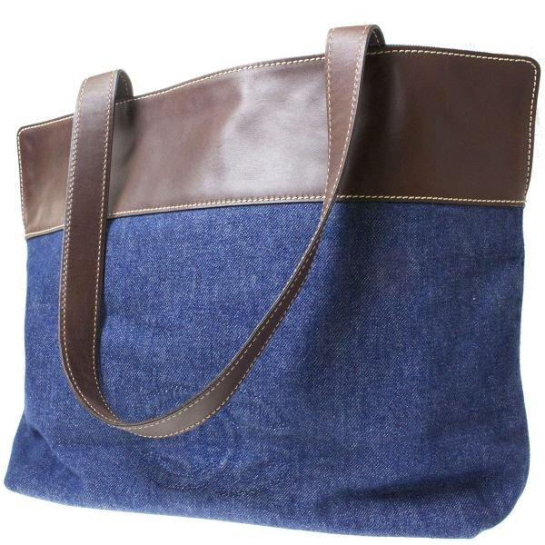 Authentic Chanel CC Logos Shoulder Hand Bag Denim Leather Blue