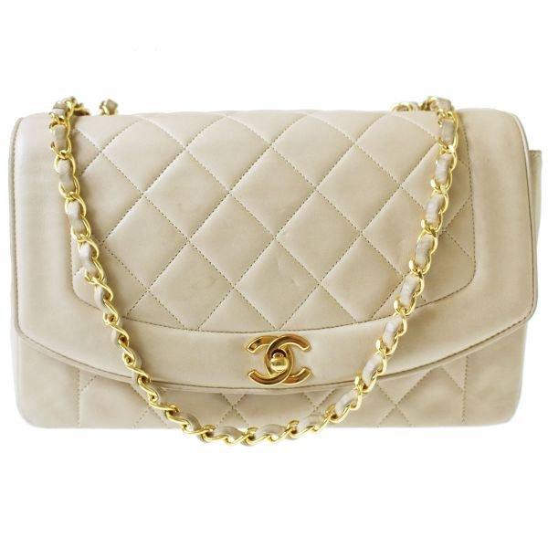 Chanel Quilted Matorasse Shoulder Bag Leather Beige