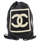 Authentic Chanel CC Backpack Canvas cotton Black