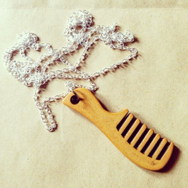 Wooden Beard Comb Necklace