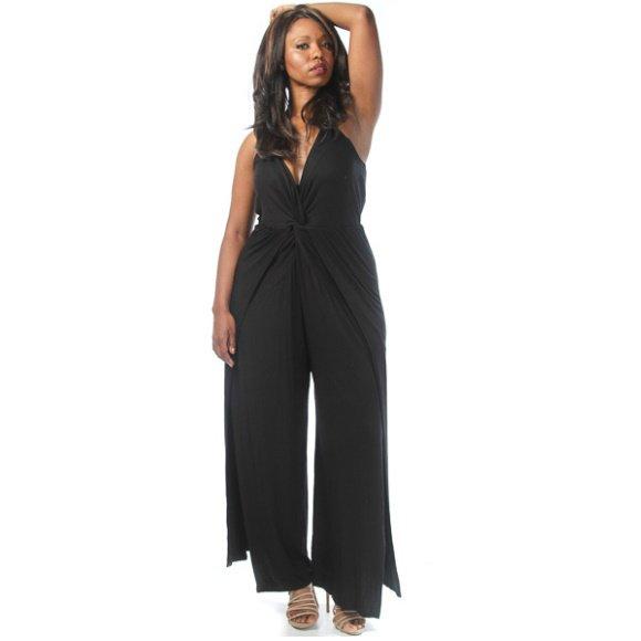 Plus Size Sleeveless V-Neck Twist Drape Slit Jersey Jumpsuit Black (3XL)