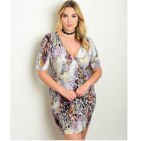 Plus Size Short Sleeve Foldover Front Animal Print Bodycon Mini Dress (2XL)