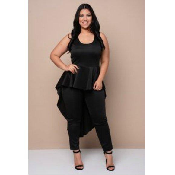 Plus Size Sleeveless V-Neck Cascade Peplum High Low Jumpsuit Black (2XL)
