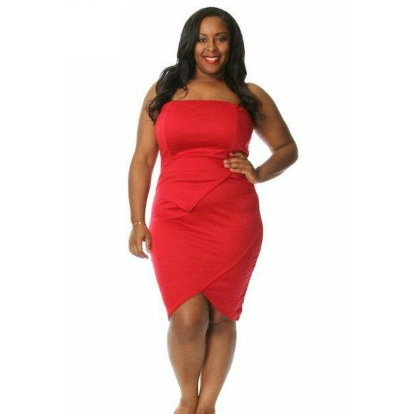 Plus Size Strapless Tulip Bodycon Mini Dress Red (3XL)