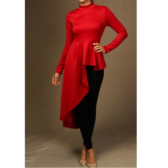 Long Sleeve Mock Neck Side Cascade Peplum Top Red (L)